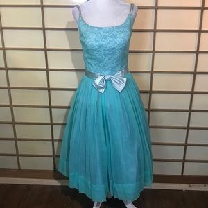 50s aqua blue party dress xs small vintage retro